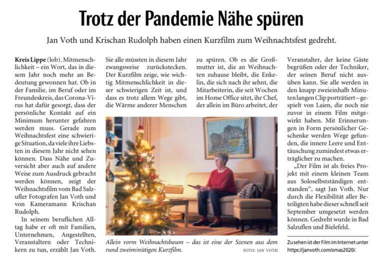 Artikel der Lippischen Landeszeitung über den Weihnachtsfilm